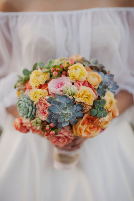 Mexican Bridal Bouquet succulents roses tuberose orange coffee bean berries wrapped in lace